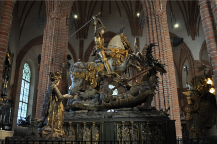 Statue of St. George and the Dragon in the Great Church in Stockholm - it is symbolic of the Battle of Brunkebjerg.